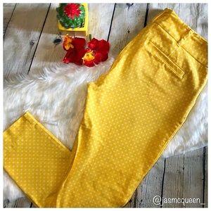 NY&Co Yellow Polka Dot Ankle Pants